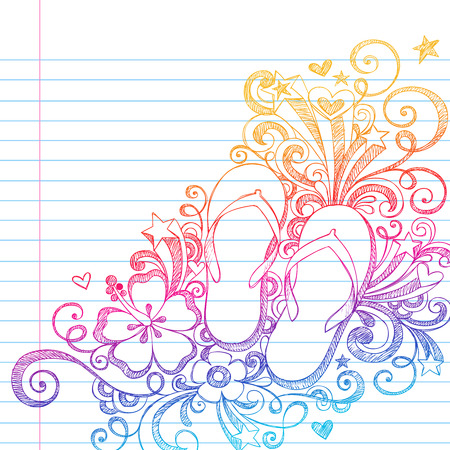 flip: Summer Vacation Flip-Flops Shoes and Swirls Tropical Sketchy Notebook Doodles Vector Illustration on Lined Sketchbook Paper Background