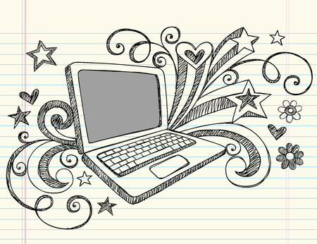 Hand-Drawn Business Laptop Computer Sketchy Notebook Doodles with Swirls, Hearts, and Stars- Illustration Design Elements on Lined Sketchbook Paper Background