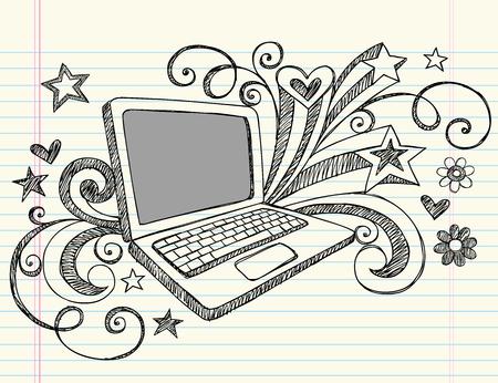 Main-dessiné Business portable ordinateur portable sommaires Doodles avec les tourbillons, Dame de pique et éléments de conception de stars-illustration sur fond de papier de revêtement Sketchbook
