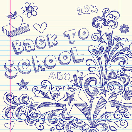 Hand-Drawn Back to School Sketchy Notebook Doodles with Lettering, Books, Shooting Stars, Hearts, and Swirls- Illustration Design Elements on Lined Sketchbook Paper Background