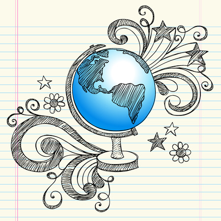 Hand-terug naar School geografie klasse schetsmatig Notebook Doodles voor een Planet Earth Globe met wervelingen, harten en sterren-illustratie ontwerpelementen op bekleed Sketchbook papier achtergrond getekend