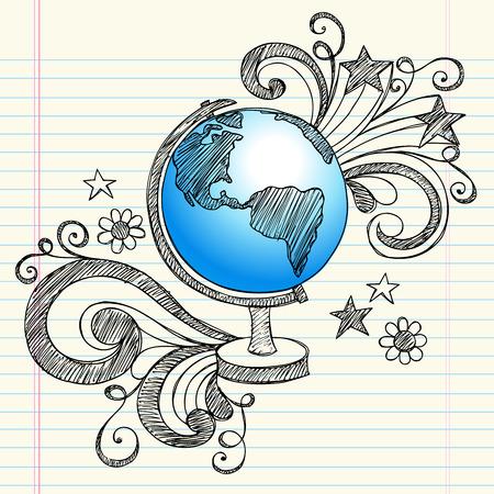 geografia: Mano-Drawn volver a clase de geografía de la escuela portátil Sketchy garabatos de un globo de tierra del planeta con espirales, corazones y elementos de diseño de estrellas-ilustración sobre fondo de papel rayado Sketchbook