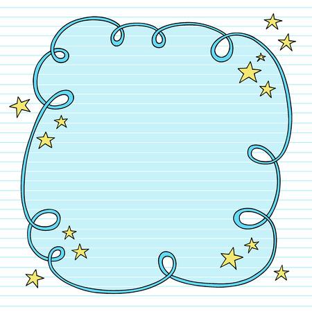 手描きのサイケデリックなグルーヴィーなノートブック落書き並ぶスケッチ用紙の背景イラスト上の星の渦巻く雲フレーム デザイン要素