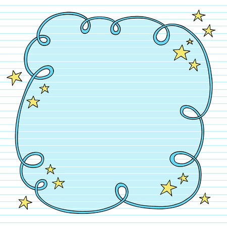 embellishments: Hand-Drawn Psychedelic Groovy Notebook Doodle Swirly Cloud Frame Design Element with Stars on Lined Sketchbook Paper Background-  Illustration
