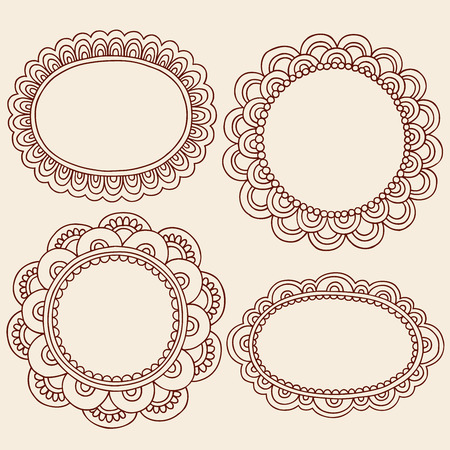 Hand-Drawn Abstract Henna Mehndi Flowers Frames Doodle Illustration Design Elements  Illustration
