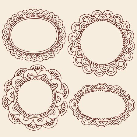 Hand-Drawn Abstract Henna Mehndi Flowers Frames Doodle Illustration Design Elements 版權商用圖片 - 7964980