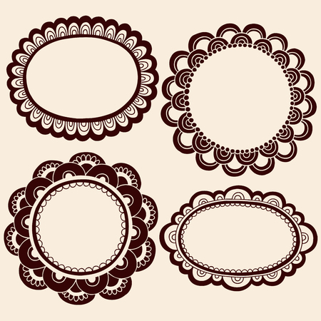 Hand-Drawn Abstract Henna Mehndi Silhouette Flower Frames Doodle  Illustration Design Elements  Illustration