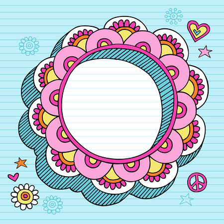 Hand-Drawn Psychedelic Groovy Notebook Doodle Circular Flower 3D Frame Design Element on Blue Lined Sketchbook Paper Background-  Illustration Vector