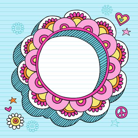手描きのサイケデリックなグルーヴィーなノートブック落書きブルーの並ぶスケッチ用紙背景イラスト上の円形の花 3 D フレーム デザイン要素