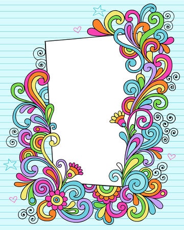 Hand-Drawn Psychedelic Groovy Notebook Doodle Decorative Rectangle Frame on Blue Lined Sketchbook Paper Background- Vector Illustration Vector