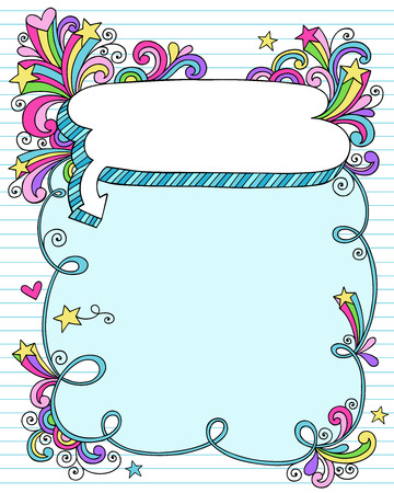 Hand-Drawn Psychedelic Groovy Notebook Doodle Speech Bubble Frame with Stars on Blue Lined Sketchbook Paper Background- Vector Illustration Vettoriali