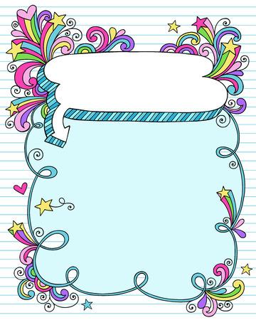 Psychedelische Groovy Notebook hand getrokken Doodle tekstballon Frame met Stars on Blue bekleed Sketchbook papier achtergrond - Vector Illustratie