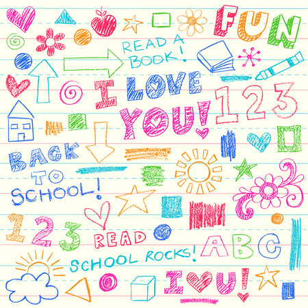 Hand-Drawn Kids Crayon Notebook Doodles Design Elements Set on Lined Sketchbook Writing Paper Background- Vector Illustration