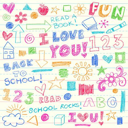 Hand getekende kinderen Crayon Notebook Doodles ontwerpelementen Set op bekleed Sketchbook schrijfpapier achtergrond - Vector Illustratie