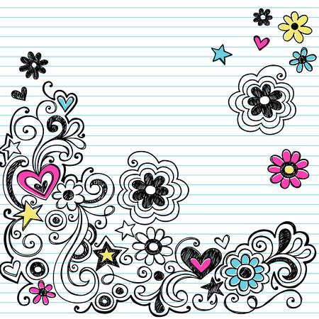 tween: Hand-Drawn Sketchy Marker Notebook Doodle Design Elements on White Lined Sketchbook Paper Background- Vector Illustration