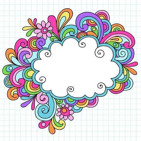 Psychedelische Groovy Notebook hand getrokken Doodle Cloud toespraak Bubble ontwerpelement op witte grafiek (raster) Sketchbook papier achtergrond - Vector Illustratie