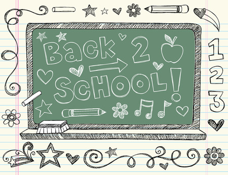 chalkboard: Hand-Drawn Back to School Chalkboard Sketchy Notebook Doodles with Lettering, Apple, Pencil, Music Notes, and Swirls- Vector Illustration Design Elements on Lined Sketchbook Paper Background