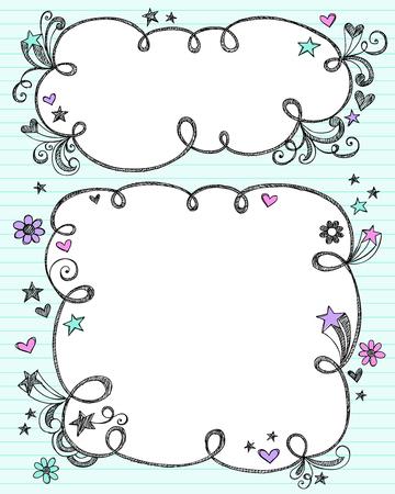 手描きのスケッチ雲状バブル国境落書きフレーム-ノートブック落書き青い罫紙背景ベクトル イラストに  イラスト・ベクター素材