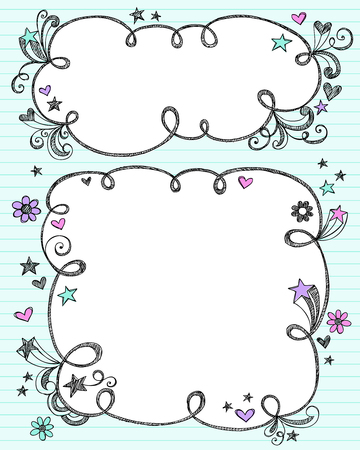 Hand-Drawn Sketchy Cloud Shaped Bubble Border Doodle Frames- Notebook Doodles on Blue Lined Paper Background- Vector Illustration  Çizim