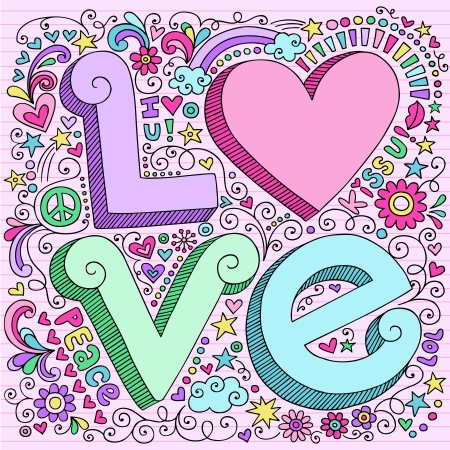 peace and love: Hand-Drawn 3D LOVE Lettering Psychedelic Groovy Notebook Doodle  Design Elements on Pink Lined Sketchbook Paper Background- Vector Illustration
