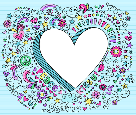 Hand-Drawn Psychedelic Groovy Notebook Heart Doodle Design Elements Set on Blue Lined Sketchbook Paper Background- Vector Illustration