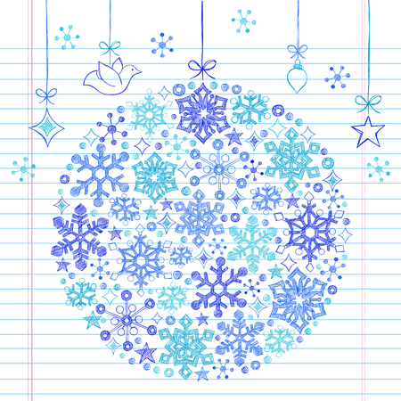 holiday background: Hand-Drawn Christmas Holiday Snowflake Ornament- Sketchy Notebook Doodle Illustration Design Elements on Lined Sketchbook Paper Background