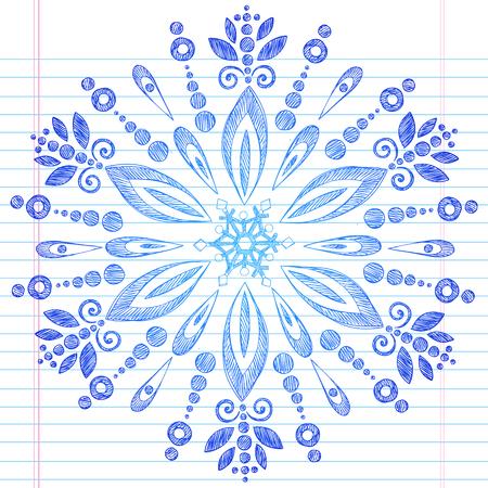Hand-Drawn Winter Snowflake Sketchy Notebook Doodle Illustration Design Element on Lined Sketchbook Paper Background  Vector