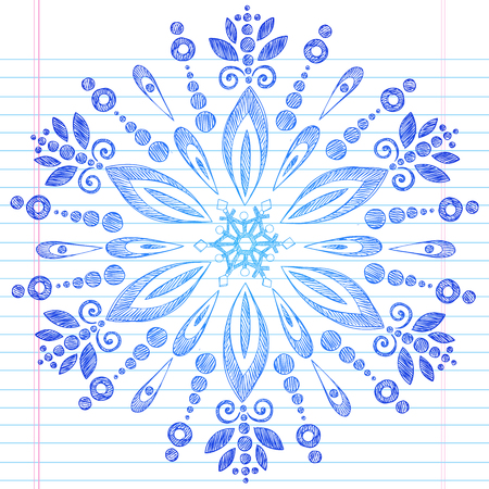 notepaper: Hand-Drawn Winter Snowflake Sketchy Notebook Doodle Illustration Design Element on Lined Sketchbook Paper Background