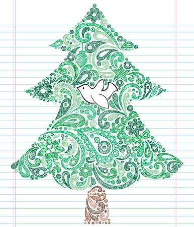 Hand-Drawn Christmas Tree with Dove- Holiday Henna Paisley Sketchy Notebook Doodles Illustration Design Elements on Lined Sketchbook Paper Background