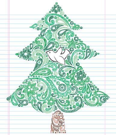 flor de pascua: �rbol de Navidad Drawn de mano con el equipo port�til de lagunas de Henna Paisley de Dove - Holiday Doodles elementos de dise�o de ilustraci�n sobre fondo de papel rayado de Sketchbook  Vectores