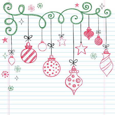 Hand-Drawn Christmas Tree Ornaments Sketchy Notebook Doodles- Illustration Design Elements on Lined Sketchbook Paper Background  Vettoriali