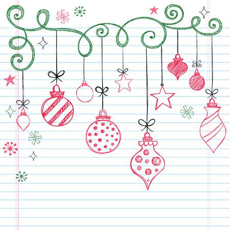 Hand-getekend Kerst boom Ornaments schetsmatig notebook doodles-illustratie design elementen op U:lined Sketchbook boek achtergrond  Stock Illustratie