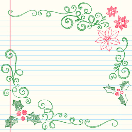 Hand-Drawn Christmas Holly Leaves Sketchy Notebook Doodles Border with Poinsettias and Swirls- Illustration Design Elements on Lined Sketchbook Paper Background  Vector