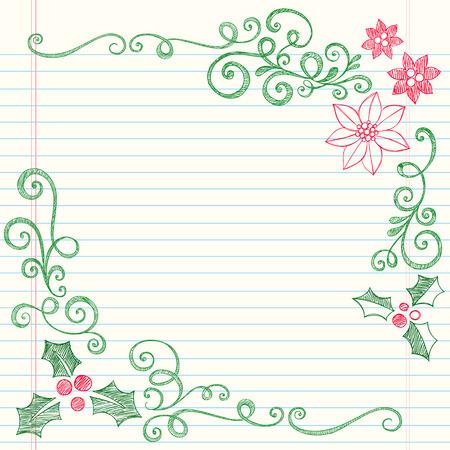 Hand-getekend Kerst Holly verlaat schetsmatig notebook doodles grens met Poinsettia en Swirls-illustratie design elementen op U:lined Sketchbook boek achtergrond  Stock Illustratie