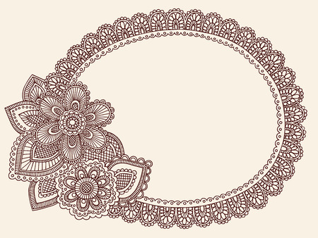 Hand-Drawn Lace Doilie HennaMehndi Paisley Flower Doodle Vector Illustration Frame Border Design Element