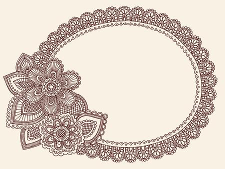 Hand-Drawn Lace Doilie HennaMehndi Paisley Flower Doodle Vector Illustration Frame Border Design Element Vector