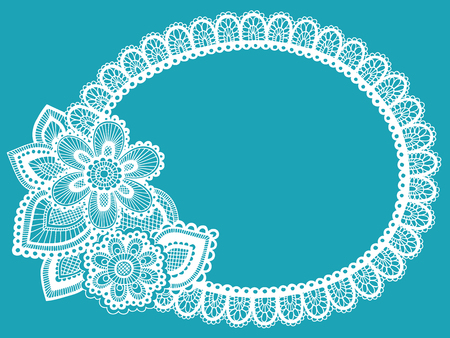 Hand-Drawn Lace Doily Henna  Mehndi Paisley Flower Doodle Frame Border- Vector Illustration Design Element