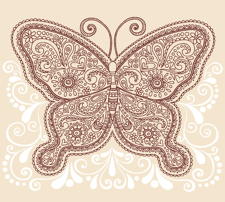 Hand-Drawn Ornate Butterfly Henna Mehndi Paisley Doodle Vector Illustration Tattoo Design Element with Swirls Vector