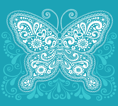 Hand-Drawn Butterfly Henna  Mehndi Paisley Doodle Vector Illustration Design Element