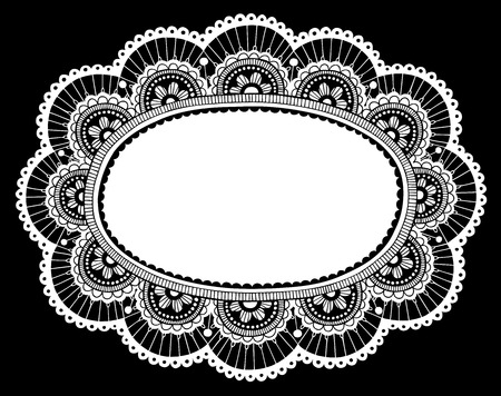 Hand-Drawn Lace Doily Henna  Mehndi Paisley Flower Frame Doodle- Vector Illustration Design Element Vector