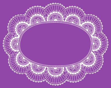 Hand-Drawn Lace Doily Henna  Mehndi Paisley Flower Frame Doodle- Vector Illustration Design Element Vector