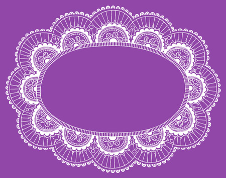 Hand-Drawn Lace Doily Henna  Mehndi Paisley Flower Frame Doodle- Vector Illustration Design Element Çizim