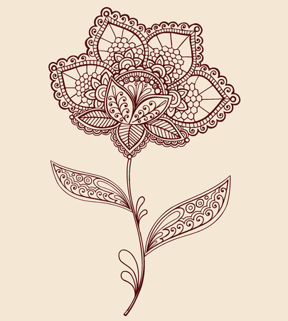 Hand-Drawn Abstract Lace Henna Mehndi Flowers and Paisley Doodle Vector Illustration Design Element Vettoriali