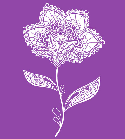 Hand-Drawn Lace Doily Henna  Mehndi Doodle- Paisley Flower Vector Illustration Design Element Illustration