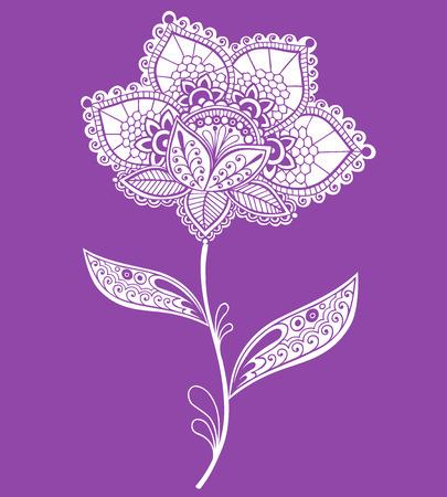 paisley: Koronka Serweta Henna rysowane rÄ™cznie  ilustracji wektorowych kwiatowe Mehndi Doodle-Paisley konstrukcja Element
