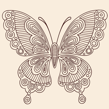 henna pattern: Hand-Drawn Butterfly Henna Mehndi Paisley Doodle Outline Vector Illustration Design Element