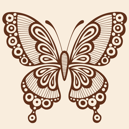 Ornate Hand-Drawn Butterfly Silhouette Tattoo Vector Illustration Design Element Çizim