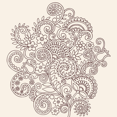 Hand Drawn Henna Mehndi Paisley Doodle Flowers And Vines Vector