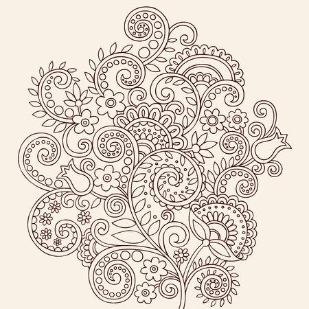 henna design: Mano Henna Mehndi Paisley Doodle flores y elemento de dise�o de ilustraci�n de Vector de vides