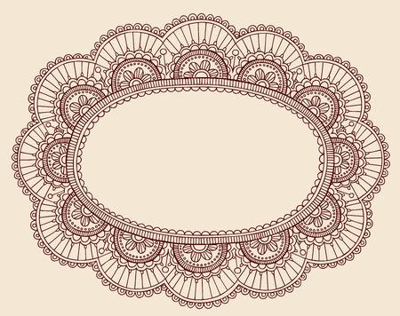 Hand-Drawn Lace Doilie HennaMehndi Paisley Doodle Vector Illustration Frame Border Design Element Vector